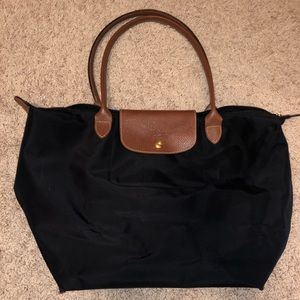 Longchamp Large Le Pliage Tote in Black